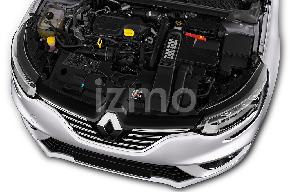 Car Stock 2016 Renault Megane Bose 5 Door Hatchback Engine  high angle detail view