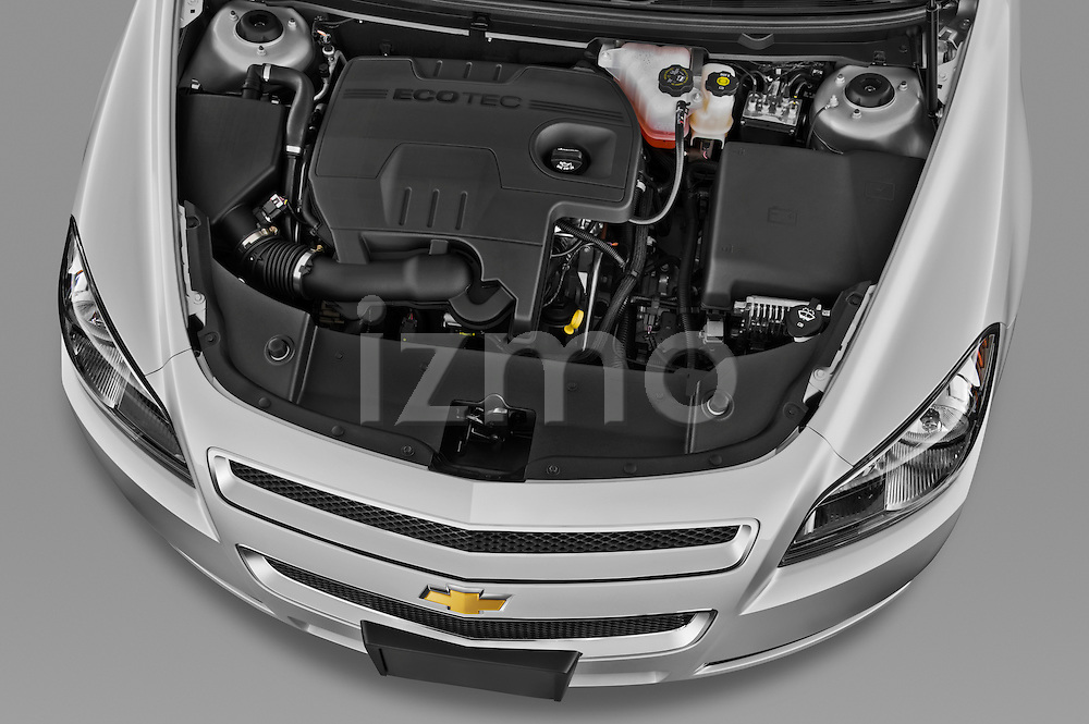 High angle engine detail of a 2012 Chevrolet Malibu 1LS .