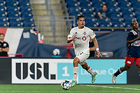 FOXBOROUGH, MA - JULY 23: Nicolas Ovalle #51 of Toronto FC II looks to pass during a game between Toronto FC II and New England Revolution II at Gillette Stadium on July 23, 2021 in Foxborough, Massachusetts.