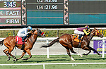 ARCADIA, CA  SEP 25:  #7 Big Runnuer, ridden by Juan Hernandez, with a fast closing #1 Wildman Jack, ridden by Abel Cedillo, in the stretch of the Eddie D Stakes (Grade ll) on September 25, 2020 at Santa Anita Park in Arcadia, CA. (Photo by Casey Phillips/Eclipse Sportswire/CSM.