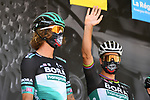 Daniel Oss (ITA) and Peter Sagan (SVK) Bora-Hansgrohe at sign on before the start of Stage 2 of Criterium du Dauphine 2020, running 135km from Vienne to Col de Porte, France. 13th August 2020.<br /> Picture: ASO/Alex Broadway | Cyclefile<br /> All photos usage must carry mandatory copyright credit (© Cyclefile | ASO/Alex Broadway)