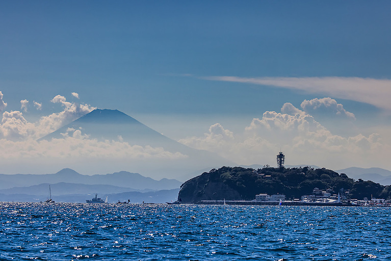 Enoshima with Mount Fuji watching over the field of play Photo: Sailing Energy