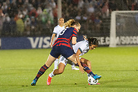EAST HARTFORD, CT - JULY 1: Samantha Mewis #3 of the United States battles for the ball with Rebeca Bernal #6 of Mexico during a game between Mexico and USWNT at Rentschler Field on July 1, 2021 in East Hartford, Connecticut.