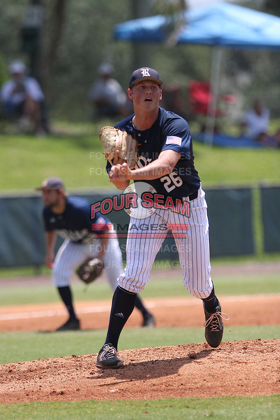 Starting pitcher Blake Fox (26) of the Rice University Owls makes a pick-off throw to first base during the game against the Florida Atlantic Owls at FAU Baseball Stadium on May 10, 2015 in Boca Raton, Florida.  The Rice Owls defeated the FAU Owls 5-2.  (Stacy Jo Grant/Four Seam Images)