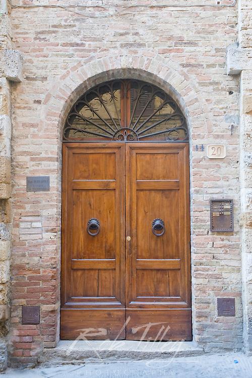 Europe; Italy; Tuscany; San Gimignano; Door of Midieval House