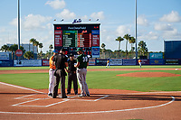 Lineups are exchanged before a St. Lucie Mets game against the Daytona Tortugas on August 3, 2018 at First Data Field in Port St. Lucie, Florida.  Daytona defeated St. Lucie 3-2.  (Mike Janes/Four Seam Images)