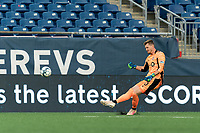 FOXBOROUGH, MA - JULY 23: Andreas Vaikla #70 of Toronto FC II passes the ball during a game between Toronto FC II and New England Revolution II at Gillette Stadium on July 23, 2021 in Foxborough, Massachusetts.