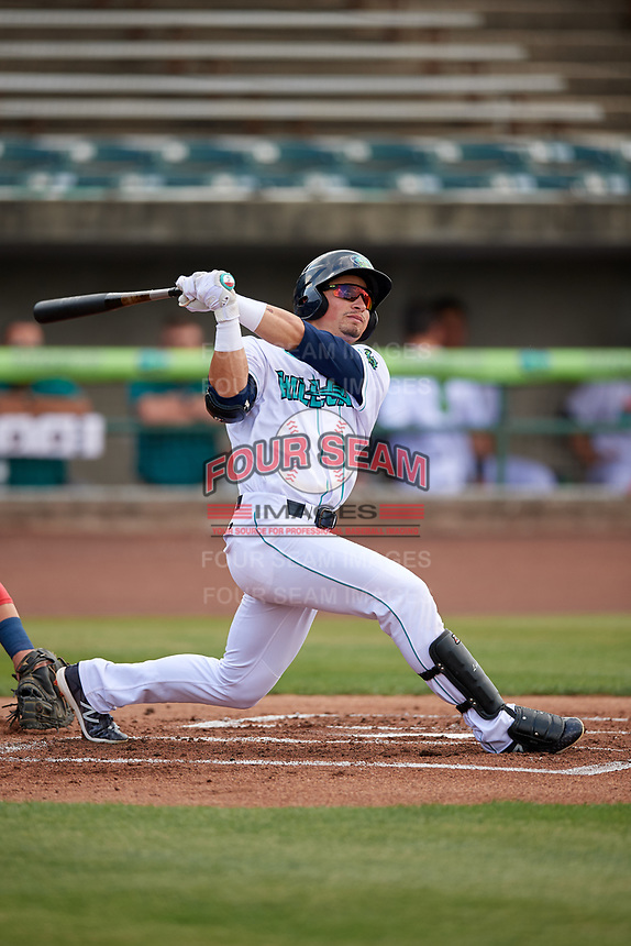 Lynchburg Hillcats left fielder Mitch Longo (10) follows through on a swing during the first game of a doubleheader against the Potomac Nationals on June 9, 2018 at Calvin Falwell Field in Lynchburg, Virginia.  Lynchburg defeated Potomac 5-3.  (Mike Janes/Four Seam Images)