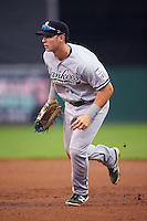 Staten Island Yankees first baseman Dalton Blaser (22) during a game against the Batavia Muckdogs on August 27, 2016 at Dwyer Stadium in Batavia, New York.  Staten Island defeated Batavia 13-10 in eleven innings.  (Mike Janes/Four Seam Images)