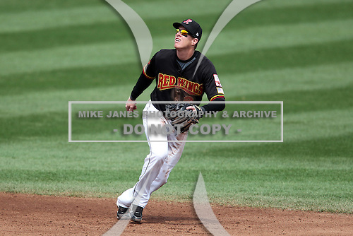 Rochester Red Wings shortstop Chase Lambin #2 in the field during the first game of a double header against the Lehigh Valley Ironpigs at Frontier Field on April 14, 2011 in Rochester, New York.  Rochester defeated Lehigh Valley 3-1 with a walk off home run in the bottom of the seventh.  Photo By Mike Janes/Four Seam Images