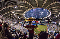 4 April 2015: A beer concessionaire serves his section the Olympic Stadium at a pre-season exhibition game between the Toronto Blue Jays and the Cincinnati Reds in Montreal, Quebec. The Blue Jays defeated the Reds 9-1 in the second of two MLB pre-season weekend exhibition games. Mandatory Credit: Ed Wolfstein Photo *** RAW (NEF) Image File Available ***