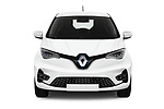 Car photography straight front view of a 2020 Renault ZOE Edition-One 5 Door Hatchback Front View