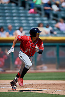 Josh Fuentes (7) of the Albuquerque Isotopes runs to first base against the Salt Lake Bees at Smith's Ballpark on April 22, 2018 in Salt Lake City, Utah. The Bees defeated the Isotopes 11-9. (Stephen Smith/Four Seam Images)