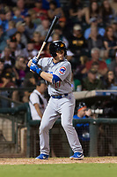 AFL East infielder Nico Hoerner (17), of the Mesa Solar Sox and Chicago Cubs organization, at bat during the Arizona Fall League Fall Stars game at Surprise Stadium on November 3, 2018 in Surprise, Arizona. The AFL West defeated the AFL East 7-6 . (Zachary Lucy/Four Seam Images)