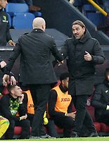 2nd October 2021;  Turf Moor, Burnley, Lancashire, England; Premier League football, Burnley versus Norwich City: Norwich City manager Daniel Farke shakes hand with Burnley manager Sean Dyche at the final whistle