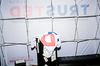 Campaign banners and equipment lay backstage after Texas senator and Republican presidential candidate Ted Cruz spoke during a town hall event at Peterborough Town House in Peterborough, New Hampshire, on Sun., Feb. 7, 2016.