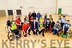 Tadgh Buckley and Noel Murphy with Minister Brendan Griffin TD at the Kerry Wheel Blasters basketball at the Kerry Sports Academy Open Day at the I T Tralee on Saturday.