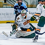 1 December 2018: University of Vermont Catamount Goaltender Melissa Black, a Senior from Newmarket, Ontario, makes a third period save against the University of Maine Black Bears at Gutterson Fieldhouse in Burlington, Vermont. The Lady Cats defeated the Lady Bears 3-2 in the second game of their 2-game Hockey East series. Mandatory Credit: Ed Wolfstein Photo *** RAW (NEF) Image File Available ***