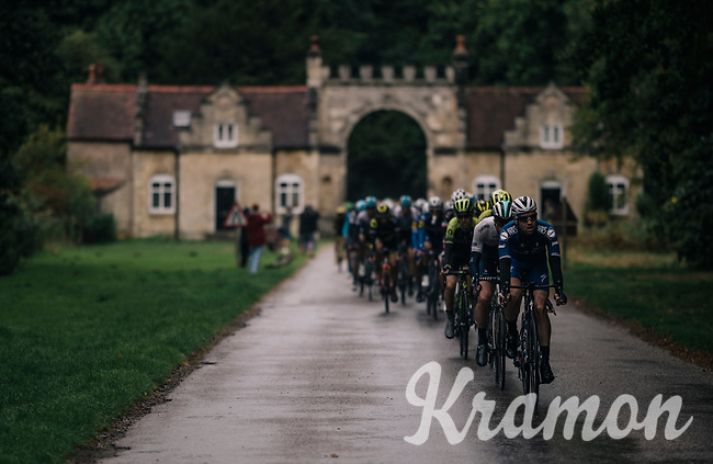peloton allowing the break to stay clear<br /> <br /> Stage 7: West Bridgford to Mansfield (215km)<br /> 15th Ovo Energy Tour of Britain 2018