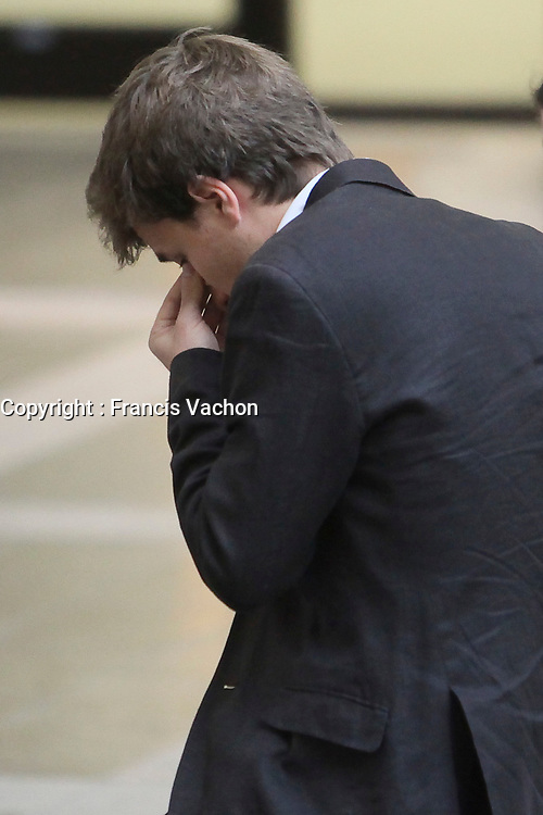 Gabriel Nadeau-Dubois looks down during a break at the Court house in Quebec city for his trial in contempt-of-court Thursday September 27, 2012. The former student spokesperson is accused of encouraging protesters to violate injunctions and preventing students from attending classes during a television interview last May.<br /> <br /> PHOTO :  Francis Vachon - Agence Quebec Presse