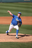 Jesse Bergin (55) of the UCLA Bruins pitches against the Arizona Wildcats at Jackie Robinson Stadium on March 20, 2021 in Los Angeles, California. Arizona defeated UCLA, 7-3. (Larry Goren/Four Seam Images)