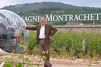 Michel Picard owner with his helicopter dom m picard chateau de ch-m chassagne-montrachet cote de beaune burgundy france
