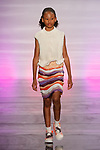 Model walks runway in an outfit by Kelly Mchugh, during the Future of Fashion 2017 runway show at the Fashion Institute of Technology on May 8, 2017.