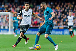 Karim Benzema of Real Madrid (R) fights for the ball with Daniel Parejo Munoz of Valencia CF (L) during the La Liga 2017-18 match between Valencia CF and Real Madrid at Estadio de Mestalla  on 27 January 2018 in Valencia, Spain. Photo by Maria Jose Segovia Carmona / Power Sport Images