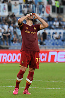 26th September 2021;  Stadio Olimpico, Rome, Italy; Italian Serie A football, SS Lazio versus AS Roma; Henrikh Mkhitaryan of As Roma misses a scoring opportunity