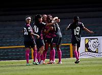 BOGOTA - COLOMBIA, 20-11-2020: Independiente Santa Fe y La Equidad durante partido por la fecha 10 de la Liga Femenina BetPlay DIMAYOR 2020 jugado en el estadio Nemesio Camacho El Campin en la ciudad de Bogota. / Independiente Santa Fe and La Equidad during a match for the 10th date of the Women's League BetPlay DIMAYOR 2020 played at the Nemesio Camacho El Campin stadium in Bogota city. / Photo: VizzorImage / Luis Ramirez / Staff.