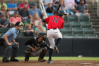 Jameson Fisher (11) of the Kannapolis Intimidators at bat against the West Virginia Power at Kannapolis Intimidators Stadium on June 17, 2017 in Kannapolis, North Carolina.  The Power defeated the Intimidators 6-1.  (Brian Westerholt/Four Seam Images)