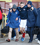 Danny Stoney carried off injured at half time