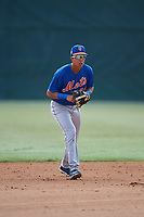 GCL Mets shortstop Mark Vientos (15) during practice before a game against the GCL Cardinals on July 23, 2017 at Roger Dean Stadium Complex in Jupiter, Florida.  GCL Cardinals defeated the GCL Mets 5-3.  (Mike Janes/Four Seam Images)