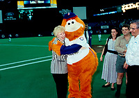 FILE PHOTO :  <br /> Candian premier and conservative leader<br /> Kim Campbell hug YOUPPI before the EXPOS baseball match<br /> at Montreal's Olympic Stadium <br /> during the 1993 electoral campaign.<br /> <br /> Photo :  Pierre Roussel  - Agence Quebec Presse