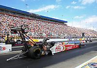 Sep 15, 2013; Charlotte, NC, USA; NHRA top fuel dragster driver Doug Kalitta during the Carolina Nationals at zMax Dragway. Mandatory Credit: Mark J. Rebilas-