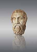 Roman marble sculpture bust of Sophocles, Farnese Type, 1st century AD copy from an original 4th century BC Hellanistic Greek original, inv 6413, Museum of Archaeology, Italy