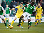 Hibs v St Johnstone…18.11.17…  Easter Road…  SPFL<br />Blair Alston is tackled by Marvin Bartley<br />Picture by Graeme Hart. <br />Copyright Perthshire Picture Agency<br />Tel: 01738 623350  Mobile: 07990 594431