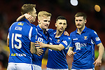 Aberdeen v St Johnstone…..05.02.20   Pittodrie   SPFL<br />Ali McCann celebrates his goal with Jason Kerr, Jason Holt and Anthony Ralston<br />Picture by Graeme Hart.<br />Copyright Perthshire Picture Agency<br />Tel: 01738 623350  Mobile: 07990 594431