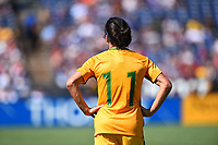San Diego, CA - Sunday July 30, 2017: Lisa De Vanna during a 2017 Tournament of Nations match between the women's national teams of the Australia (AUS) and Japan (JAP) at Qualcomm Stadium.