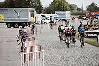 early break away group racing the cobbles.<br /> <br /> 102nd Kampioenschap van Vlaanderen 2017 (UCI 1.1)<br /> Koolskamp - Koolskamp (192km)