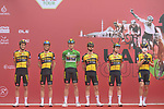 Team Jumbo-Visma at sign on before the start of Stage 5 of the 2021 UAE Tour running 170km from Fujairah to Jebel Jais, Fujairah, UAE. 25th February 2021. <br /> Picture: LaPresse/Fabio Ferrari   Cyclefile<br /> <br /> All photos usage must carry mandatory copyright credit (© Cyclefile   LaPresse/Fabio Ferrari)