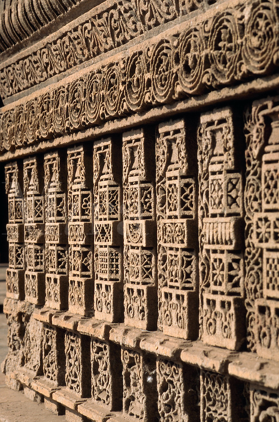 Detail of the ornate, carved Dada Harir Wav; a stepwell, or series of stone steps leading to a water source. Ahmedabad, India.