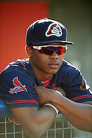 Peoria Chiefs outfielder Magneuris Sierra (19) in the dugout before a game against the Lansing Lugnuts on June 6, 2015 at Cooley Law School Stadium in Lansing, Michigan.  Lansing defeated Peoria 6-2.  (Mike Janes/Four Seam Images)