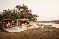 Exterior view of Chinzombo Safari Lodge, Luangwa River. Zambia, Africa