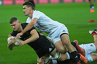 South's Will Jordan tackles North's Dalton Papalii the rugby match between North and South at Sky Stadium in Wellington, New Zealand on Saturday, 5 September 2020. Photo: Dave Lintott / lintottphoto.co.nz
