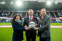 Match ball sponsors ahead of the Premier League match between Swansea City and Leicester City at The Liberty Stadium, Swansea, Wales, UK. Sunday 12 February 2017