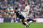 Karim Benzema (R) of Real Madrid battles for the ball with Unai Bustinza, Bustinza M, of CD Leganes during the La Liga 2018-19 match between Real Madrid and CD Leganes at Estadio Santiago Bernabeu on September 01 2018 in Madrid, Spain. Photo by Diego Souto / Power Sport Images