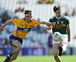 John Murphy of Clare in action against Jack O Connor of Kerry during their Munster Minor football final at Pairc Ui Chaoimh. Photograph by John Kelly.