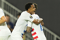 CLEVELAND, OHIO - JUNE 22: Christian Pulisic,Weston McKennie during a 2019 CONCACAF Gold Cup group D match between the United States and Trinidad & Tobago at FirstEnergy Stadium on June 22, 2019 in Cleveland, Ohio.