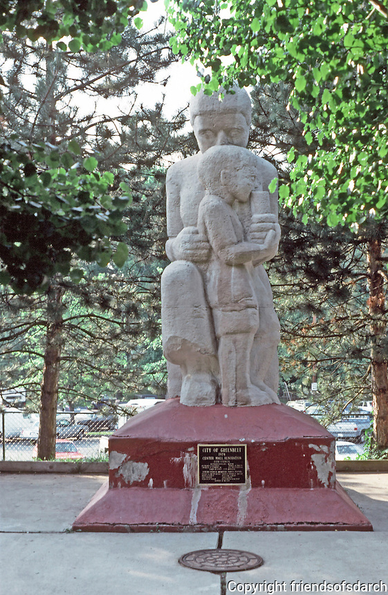 Greenbelt:  Village Center--Sculpture of Mother and Child bySculptor Lenore Thomas.  Photo '85.